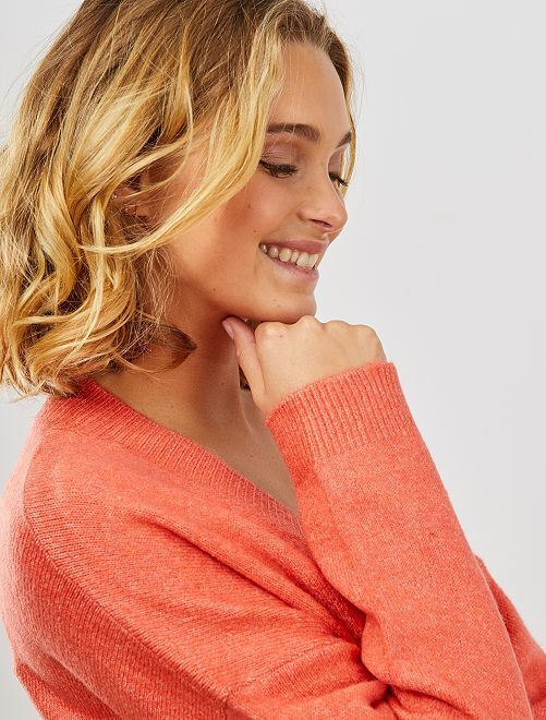 Jersey con cuello de pico                                                                 rosa naranja