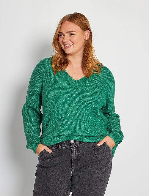 Jersey con cuello de pico                                                                                                                 verde pino