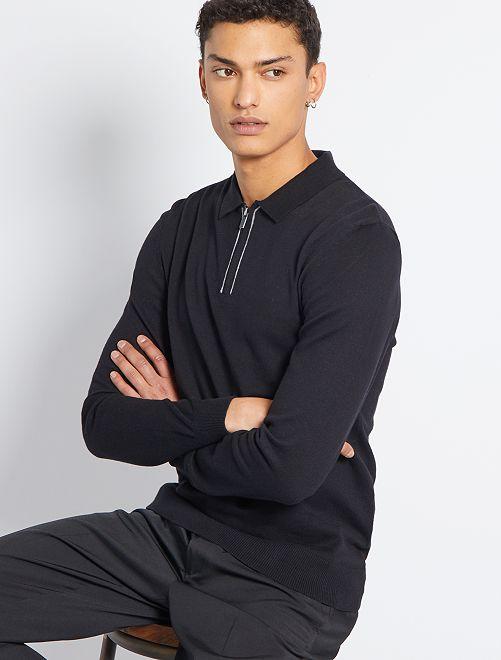 Jersey con cuello de polo eco-concepción                                         negro