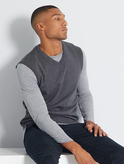 Jersey con cuello en V sin mangas eco-concepción                                                                 GRIS