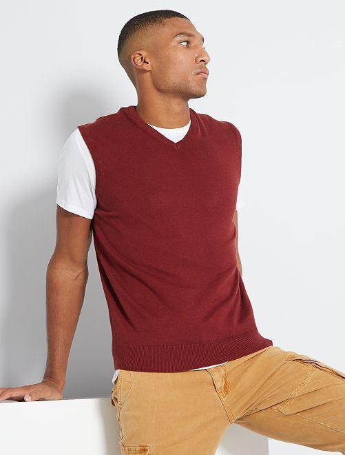 Jersey con cuello en V sin mangas eco-concepción                                                                 ROJO