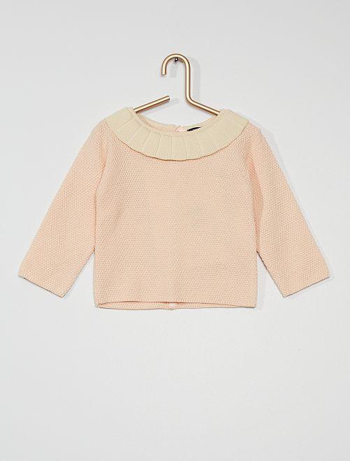 Jersey con gorguera                     crudo/rosa
