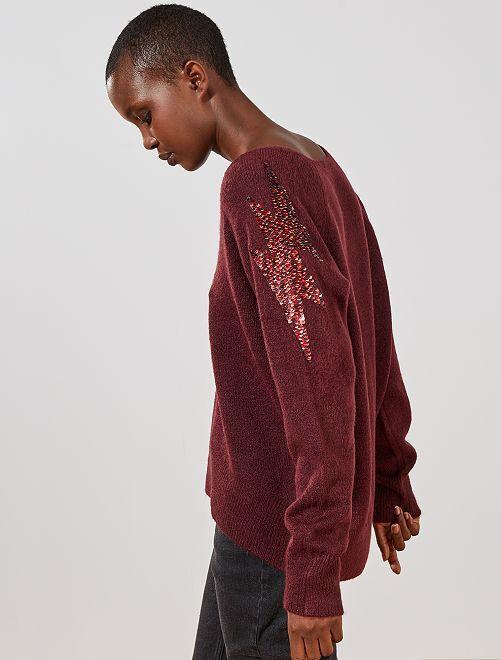 Jersey con lentejuelas en los hombros                             rojo