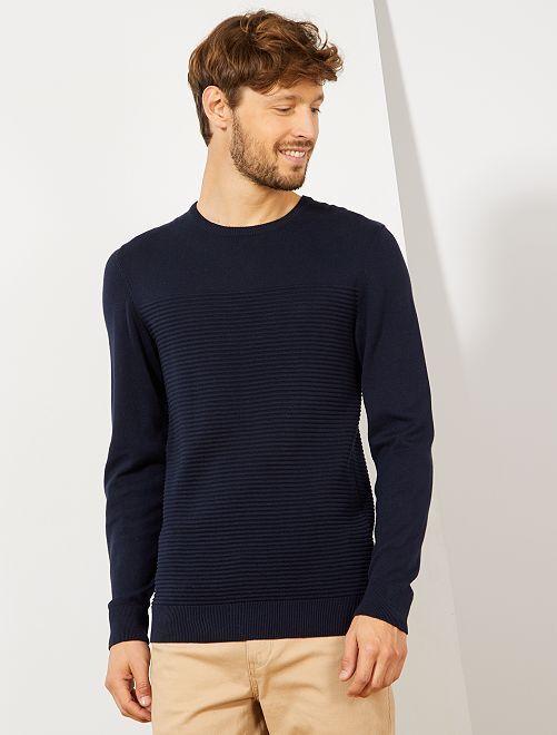 Jersey con rayas en relieve 'eco-concepción'                                                     AZUL