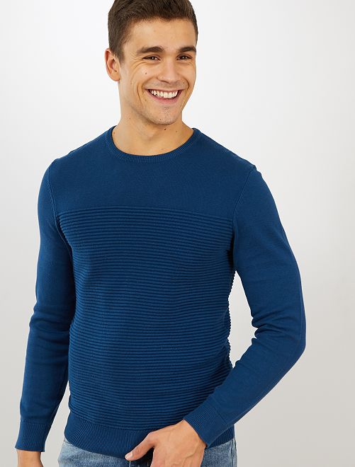 Jersey con rayas en relieve 'eco-concepción'                                                     azul poseidon