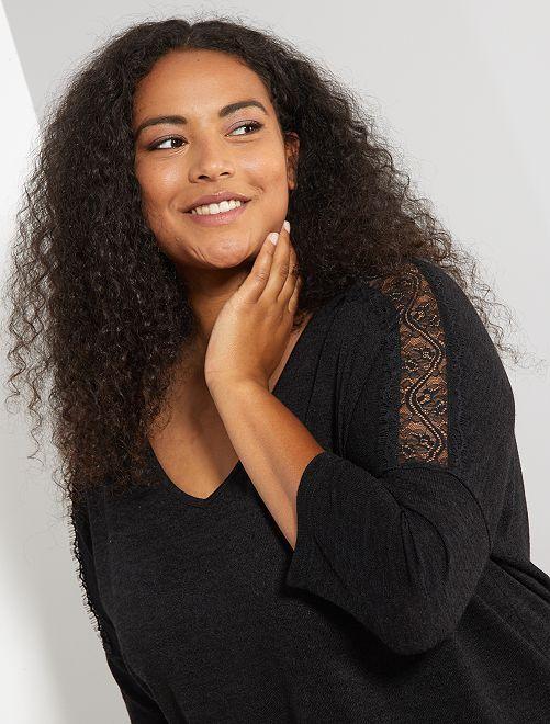 Jersey con sisa de encaje                                         negro