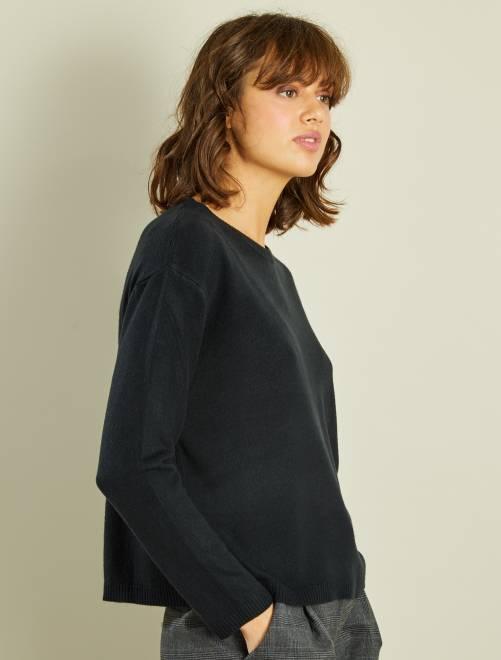 Jersey corto de punto fino NEGRO Mujer talla 34 to 48
