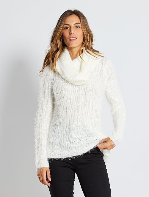 Jersey + cuello vuelto extraíble de punto suave                                                     blanco
