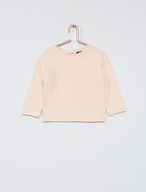 Jersey de algodón calado                             ROSA