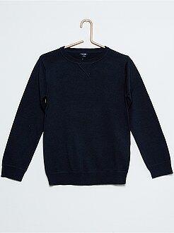 Niño 4-12 años Jersey de algodón con cuello redondo