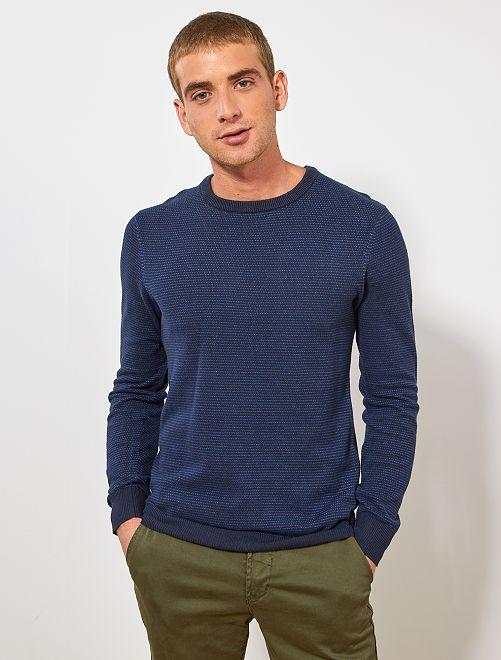 Jersey de algodón orgánico                                                     AZUL Hombre