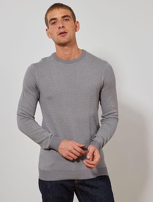 Jersey de algodón orgánico                                                     gris/blanco