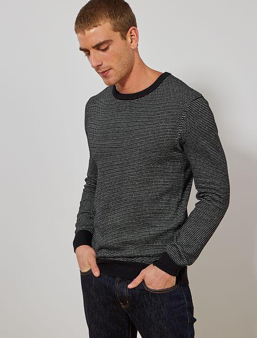Jersey de algodón orgánico                                                     negro/blanco