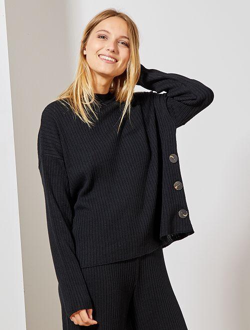 Jersey de canalé con botones                                         negro Mujer talla 34 a 48