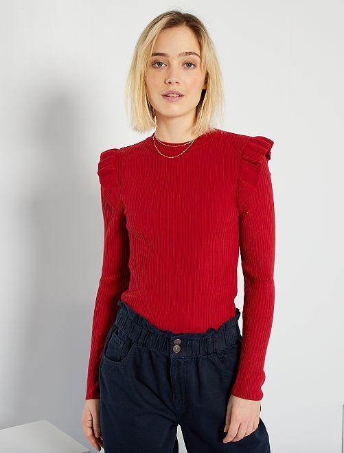 Jersey de canalé con volantes                                                                 rojo