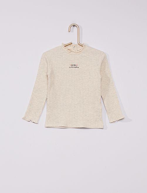 Jersey de canalé de cuello alto eco-concepción                                                     BLANCO