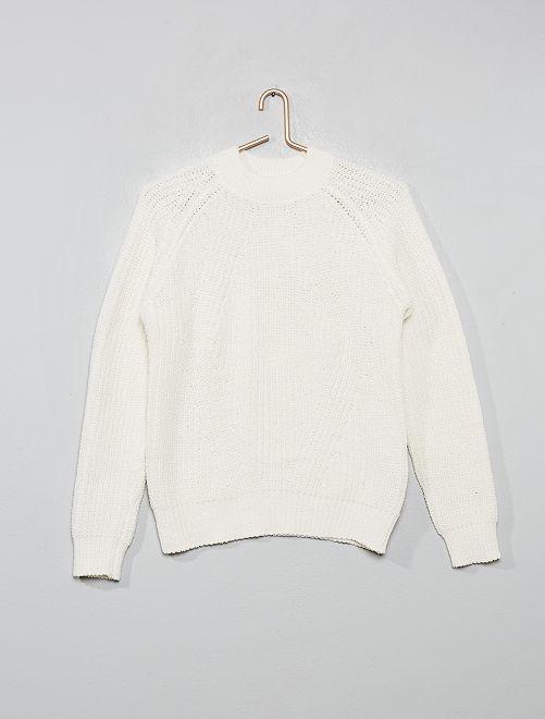 Jersey de chenilla con cuello alto                                                                                         blanco nieve
