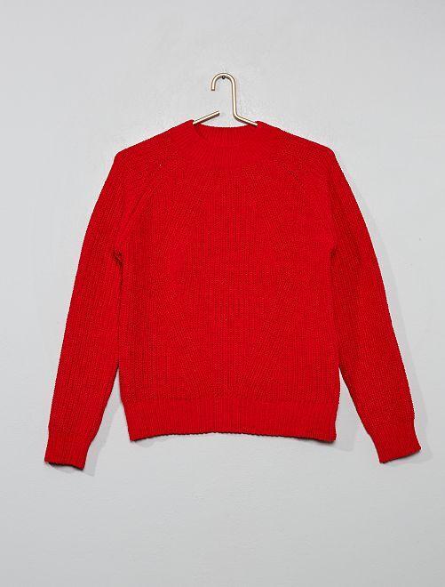 Jersey de chenilla con cuello alto                                                                                         rojo