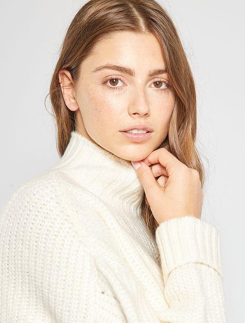 Jersey de cuello alto calado                     blanco nieve