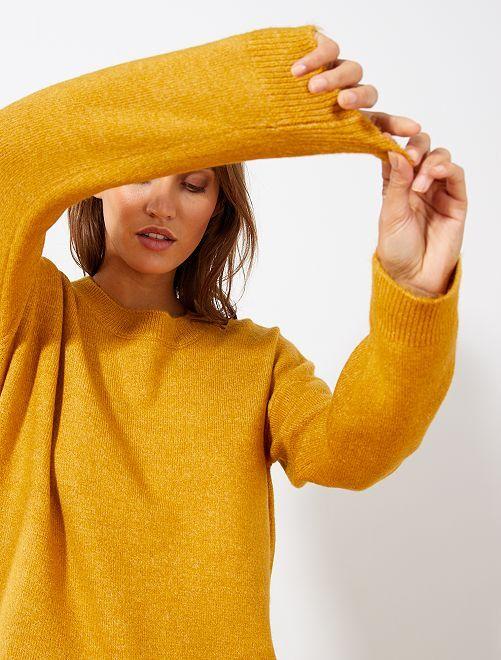 Jersey de cuello redondo básico                                                                                                     AMARILLO