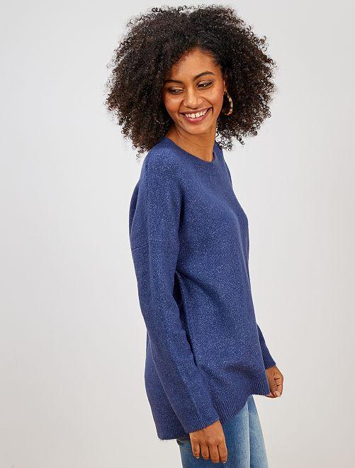 Jersey de cuello redondo básico                                                                                                     azul cobalto