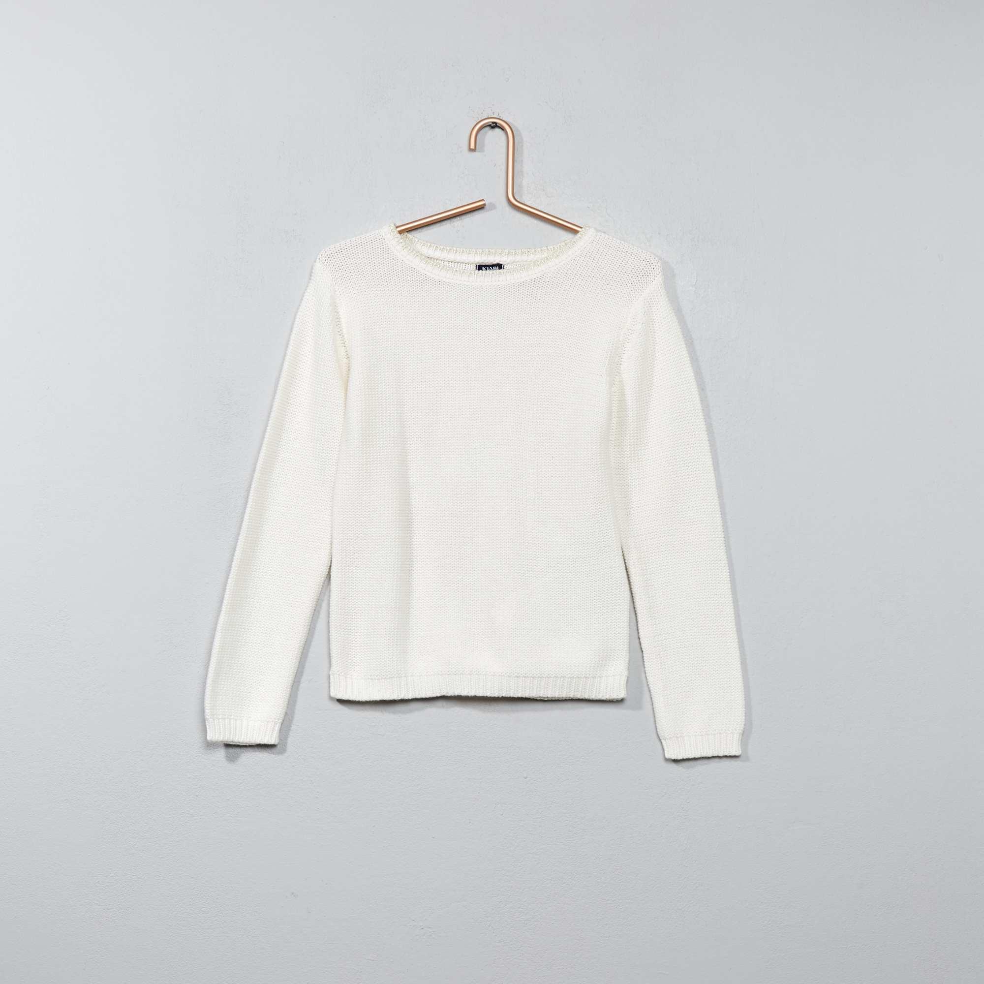 Jersey de cuello redondo con hilos brillantes chica for Blanco nieve