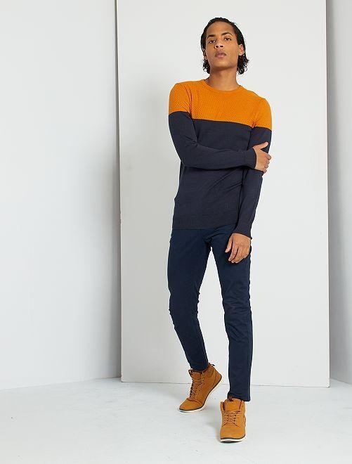 Jersey de dos tejidos 'eco-concepción'                                                     AZUL