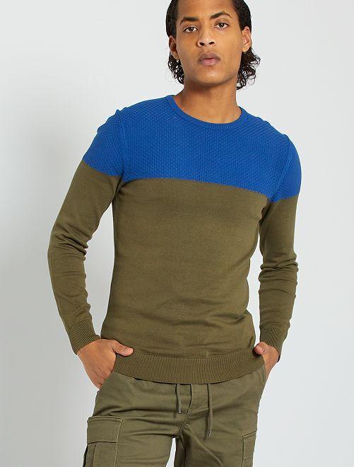 Jersey de dos tejidos 'eco-concepción'                                                     KAKI