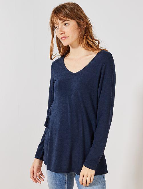 Jersey de lactancia de punto fino y suave                                                     azul