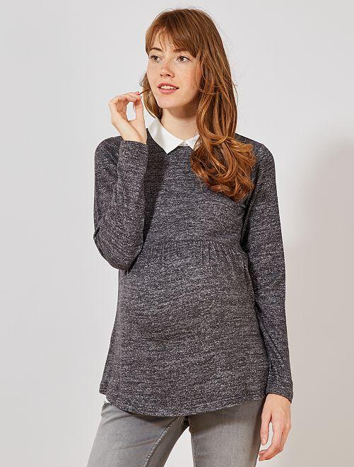 Jersey de premamá con cuello de camisa                             GRIS