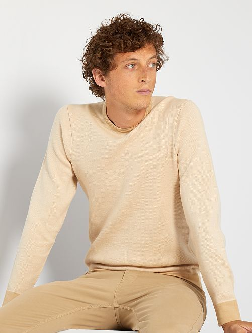 Jersey de punto bicolor                                         BEIGE