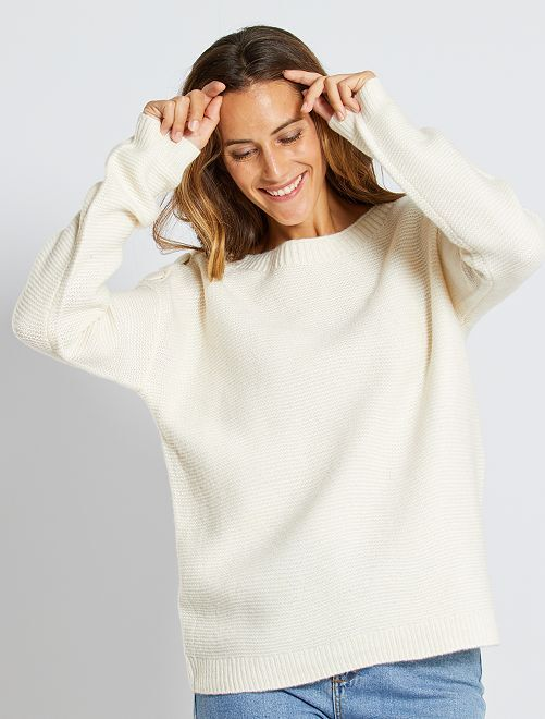 Jersey de punto bobo                                                                             blanco nieve