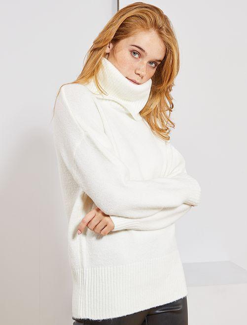 Jersey de punto bobo de cuello vuelto                                                                 blanco nieve