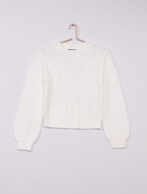 Jersey de punto 'bobo' trenzado                     blanco nieve