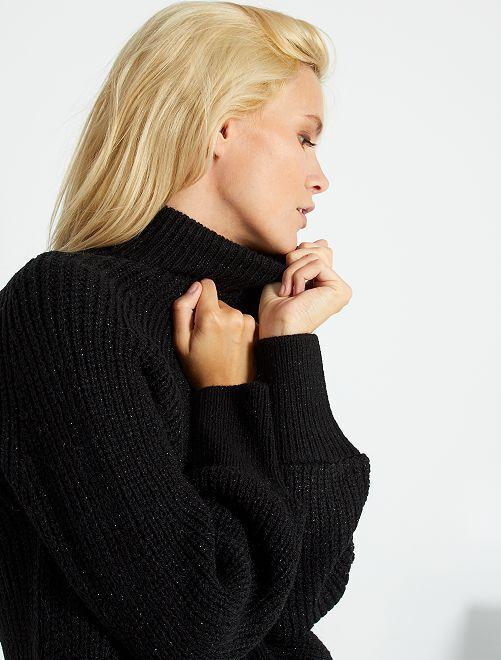 Jersey de punto brillante con cuello chimenea                             negro lúrex