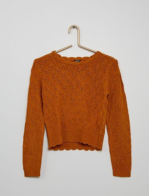 Jersey de punto calado                                                     marrón
