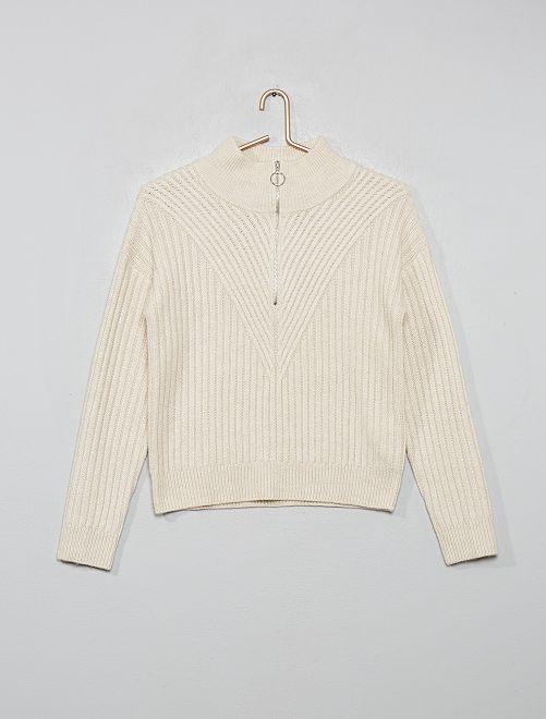 Jersey de punto cálido con cremallera                                                     beige de mezclilla