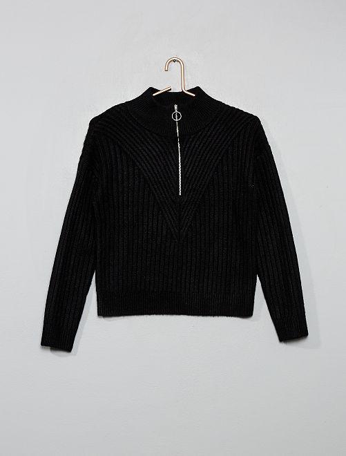 Jersey de punto cálido con cremallera                                                     negro