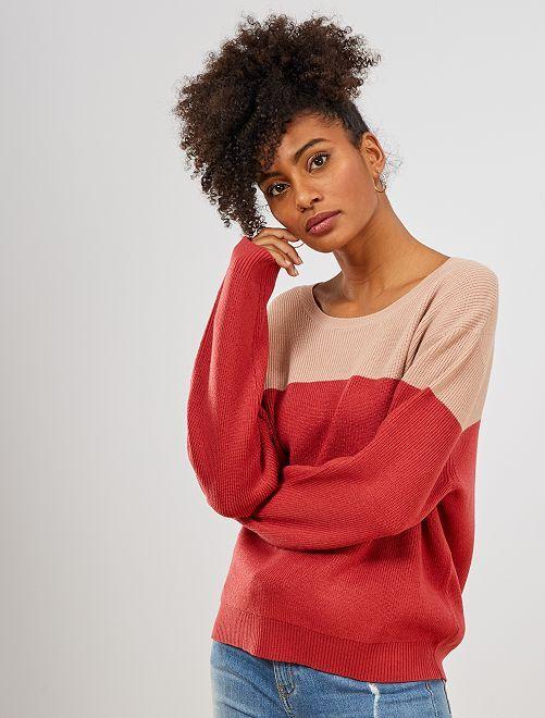 Jersey de punto colorblock                                                                 ROSA