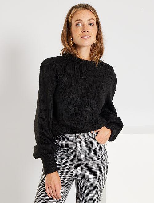 Jersey de punto con bordados                                                                 negro