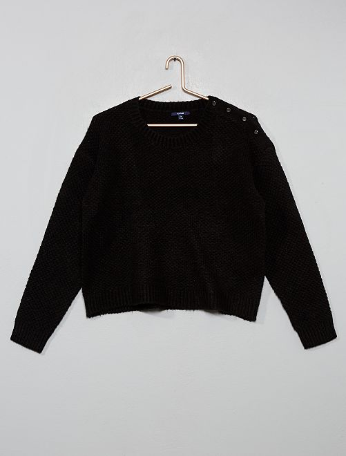 Jersey de punto con botones                                                                 negro