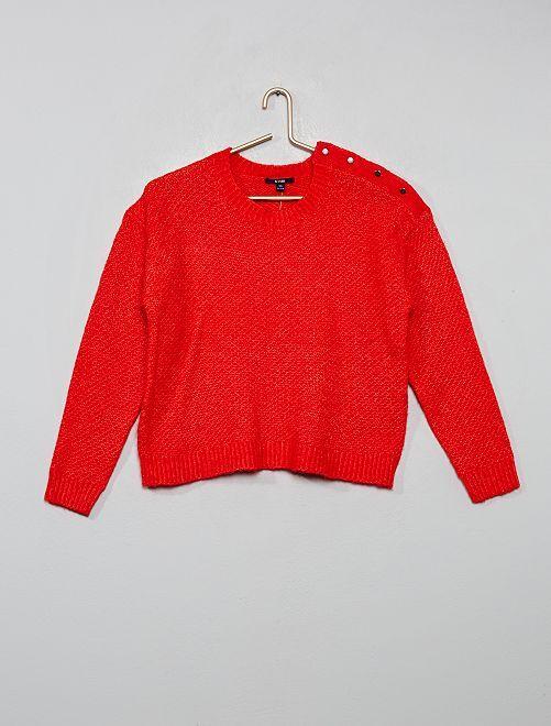 Jersey de punto con botones                                                                 rojo
