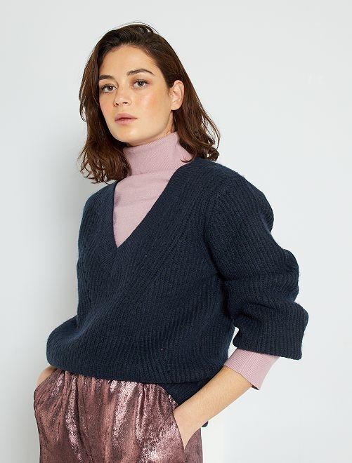 Jersey de punto con cuello de pico                                                                             azul