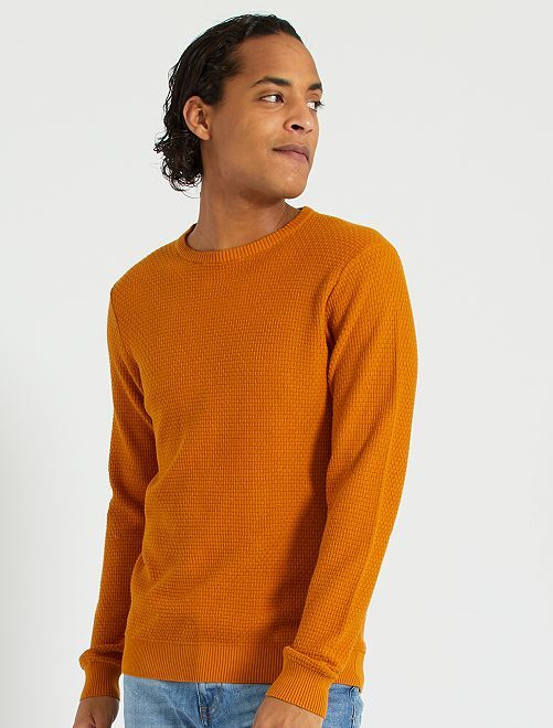 Jersey de punto con textura 'eco-concepción'                             marrón