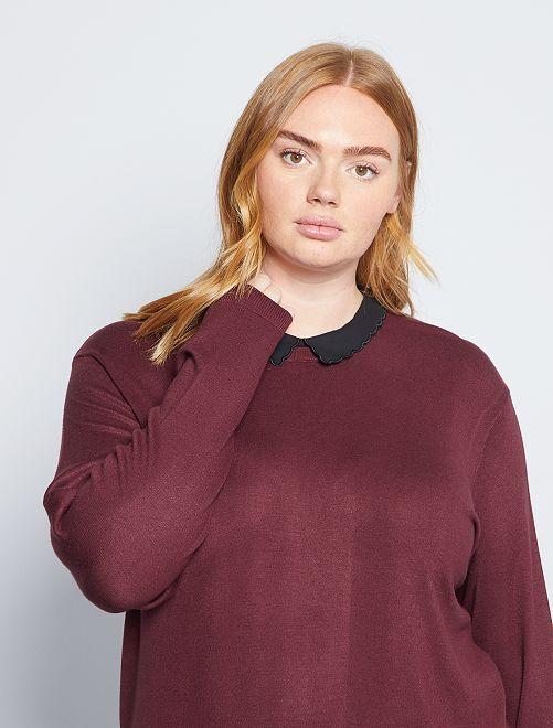 Jersey de punto cuello falso                                         rojo