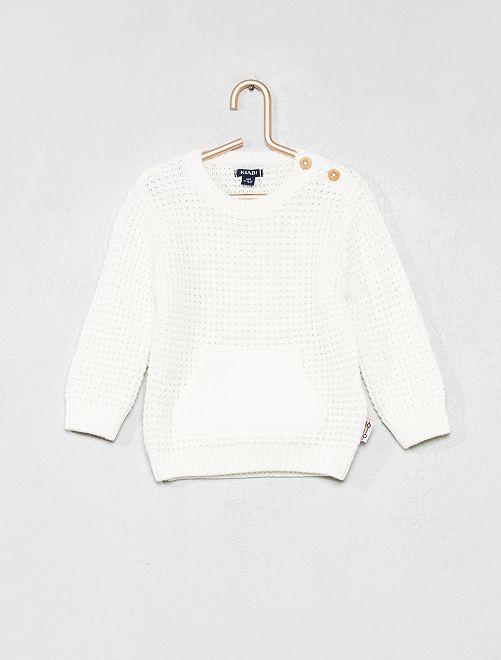 Jersey de punto de arroz de algodón puro                                         blanco nieve Bebé niño