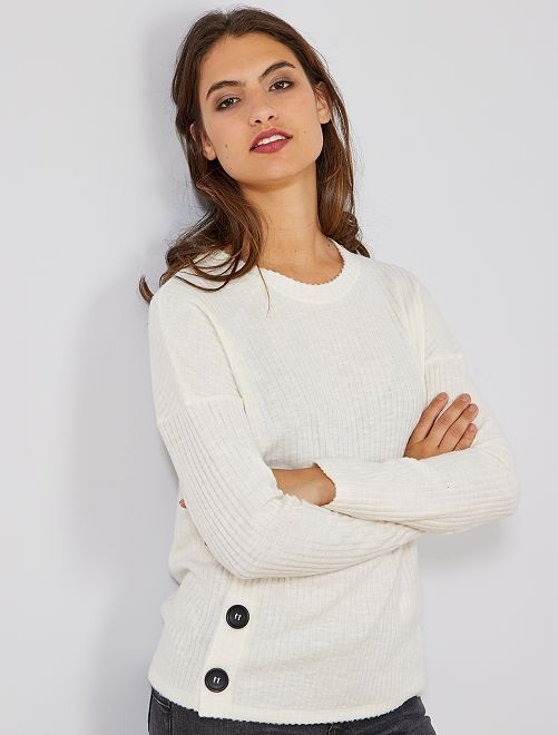 Jersey de punto de canalé                     blanco nieve Mujer talla 34 a 48