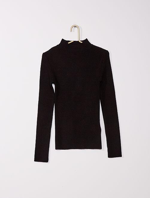 Jersey de punto de canalé                                                     negro