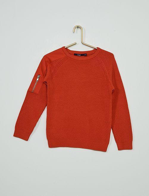 Jersey de punto de canalé                                         rojo