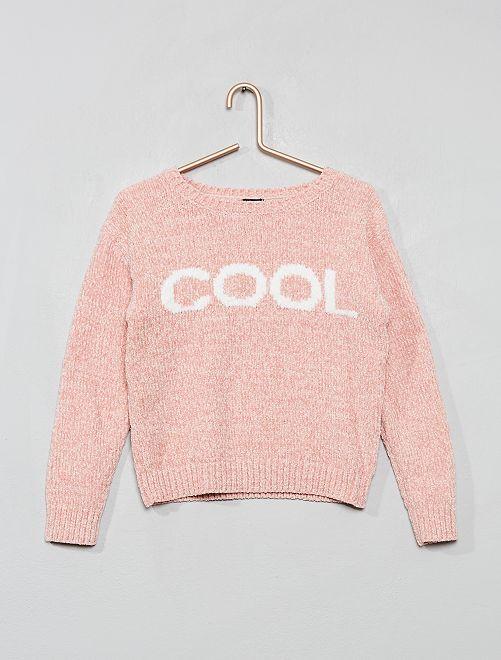 Jersey de punto de chenilla                                                     rosa
